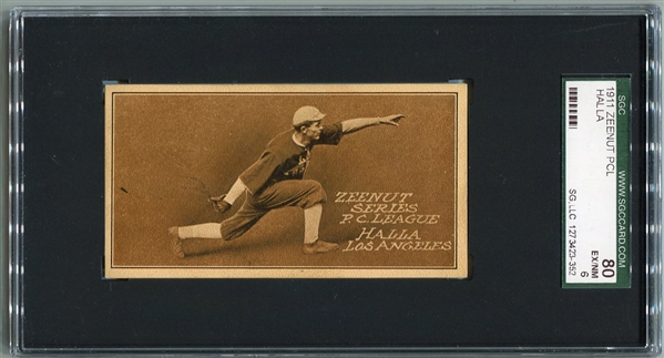 E136 Zeenut Halla Los Angeles SGC 80 The ONLY Horizontal Card in the Set - Tied for Highest Graded