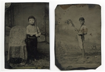 Pair of 19th Century Tintypes of Children In Baseball Uniforms with Bats