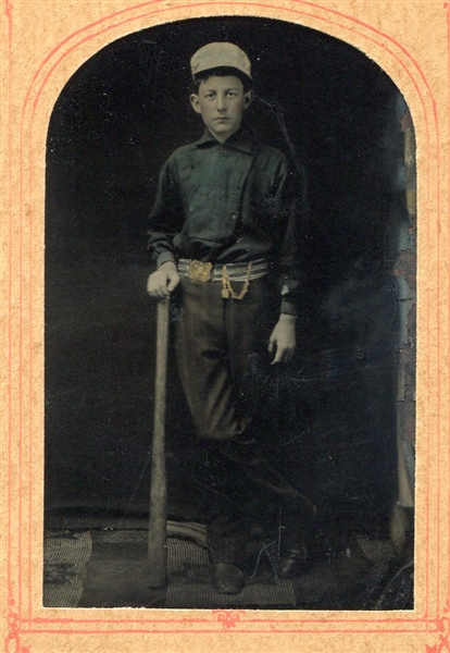 1/6th Plate Color Tinted Tintype of Baseball Player in Full Uniform with Bat