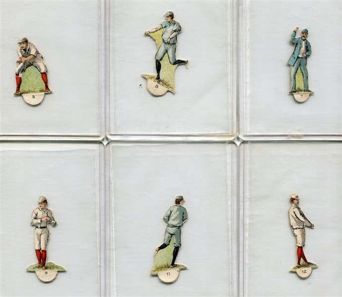 19th Century Small Die-cut Baseball Players & Umpire Lot of 6 Different
