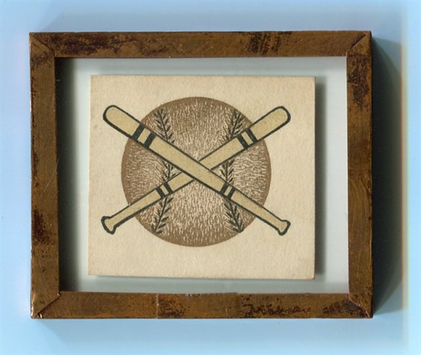 19th Century? Small Lithograph Baseball and Bats in Glass & Copper Frame