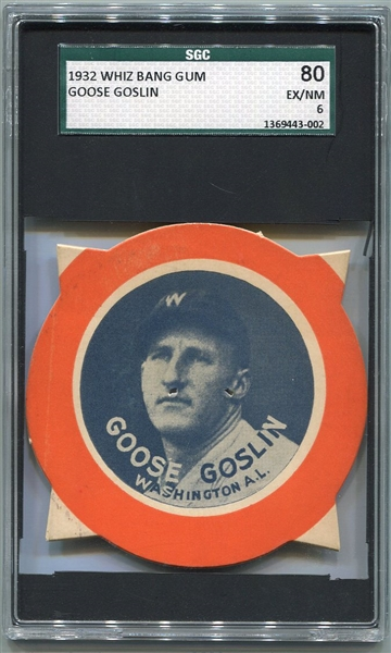 1930 Fleer Whiz Bang Gum Goose Goslin SGC 80 The Only One Graded!