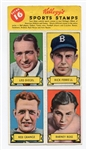 F273-27 1937 Kelloggs Pep Sports Stamp Complete Panel of 4 w/Grange and Ferrell