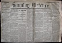 Four 1870 New York Sunday Mercury Newspapers with Baseball Content