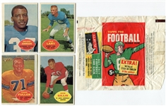 1960 Topps Football 5 Cent Wax Wrapper and 4 Cards