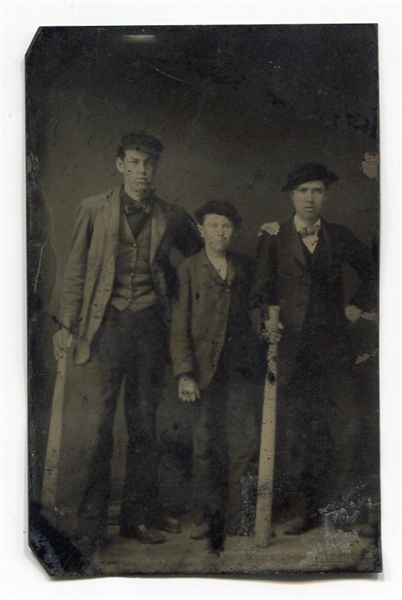 Circa 1870's Tintype of Three Young Men with 2 Very Large Bats