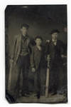Circa 1870s Tintype of Three Young Men with 2 Very Large Bats