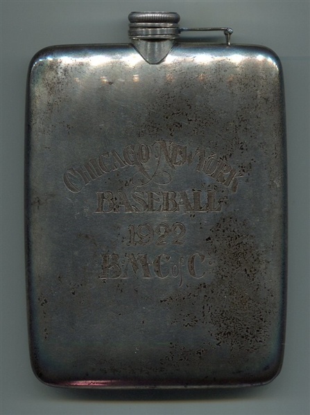1922 Chicago vs. New York Baseball Commemorative Sterling Silverplated Flask