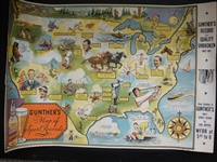 1935 Gunthers Beer Map of Sport Records