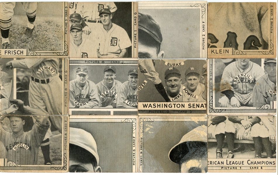 R321 1935 Goudey 4-in-1 Puzzle Backs Complete Set of 36 Fronts w/Ruth