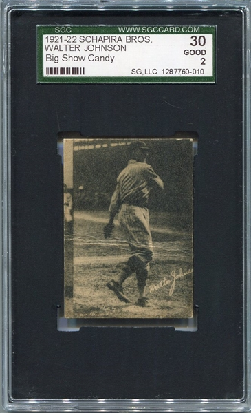 1921-22 Schapira Bros. Big Show Candy Walter Johnson SGC 30