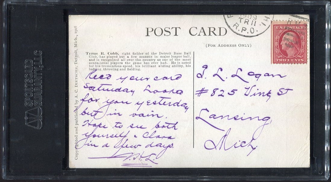 PC765-1 1908 Dietsche Postcard Ty Cobb Batting SGC 10