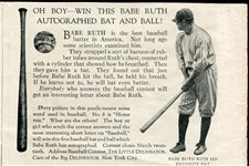 1922 Babe Ruth Baseball Bat & Ball Ad in The Little Delineator