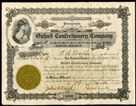 Oxford Confectionary Stock Certificate Letterhead and Movie Card