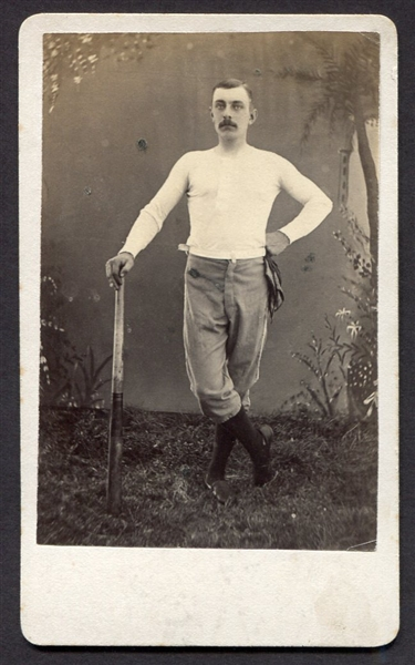 Circa 1880's CDV of Baseball Player w/Bat and Scarf