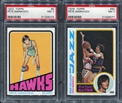 1972 & 1978 Topps Basketball Pete Maravich Pair of PSA 7s