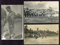 Early 20th Century Baseball Postcard Lot of 3 RPPCs