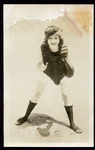Early 1900s RPPC Risque Woman in Catchers Garb