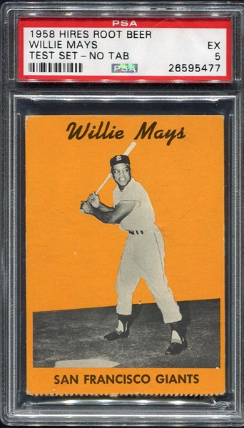 1958 Hires Root Beer Test Set Willie Mays PSA 5