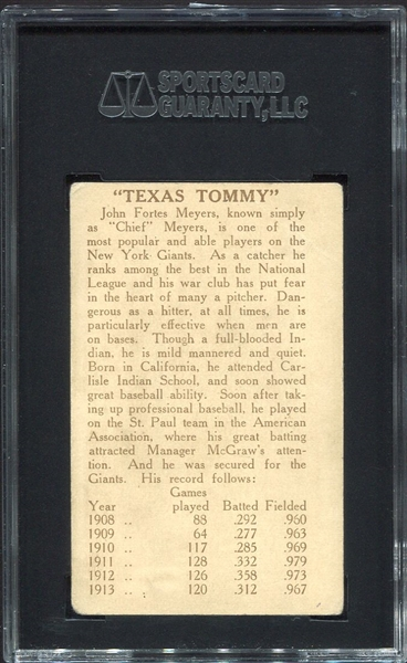 E224 Texas Tommy Type 1 Chief Meyers New York Giants SGC 40