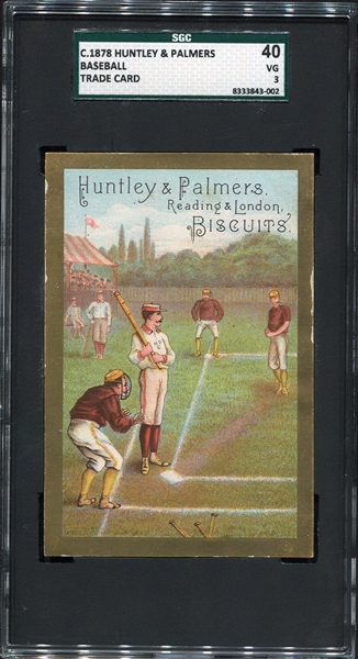 c. 1878 Huntley & Palmers Baseball Trade Card SGC 40
