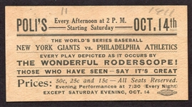 1911 Worlds Series Ad Piece for Following The Game at Polis