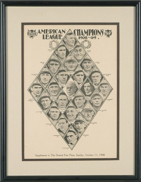 1908 Detroit Free Press Detroit Tigers Supplement w/Ty Cobb
