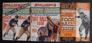 1930, 1931 & 1932 Spaldings National Collegiate Athletic Association Foot Ball Guides
