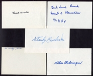 HOF Lot of 5 Autographed Index Cards