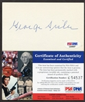 George Sisler Autographed 3x5 PSA/DNA Certified