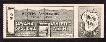 1895 Omaha Base Ball Club of the Western Association Unused Ticket