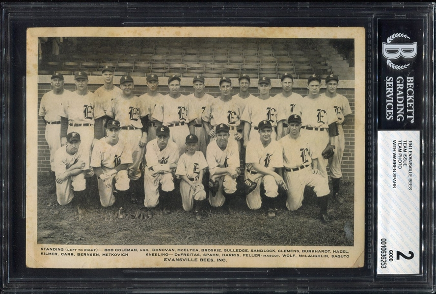 1941 Evansville Bees Team Issued Photo w/Warren Spahn Only One Confirmed