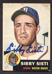 1953 Topps #124 Sibby Sisti Boston Braves Autographed