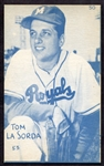 1953 Canadian Exhibits Tommy Lasorda Blue Tint Nrmt