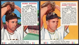 1952 & 1953 Murry Dickson Red Man Tobacco Cards W/Tabs