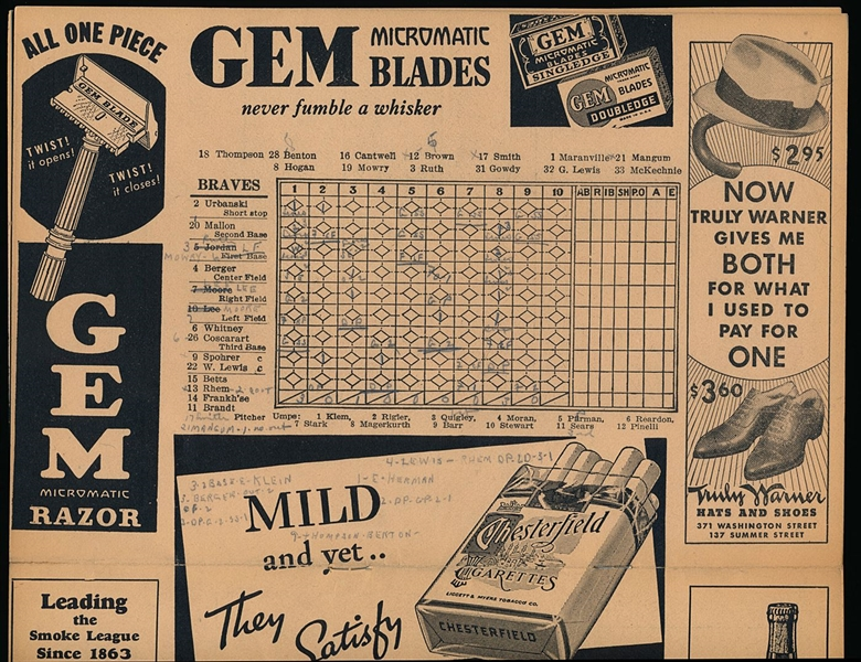 1935 Boston Braves Score Card with Babe Ruth