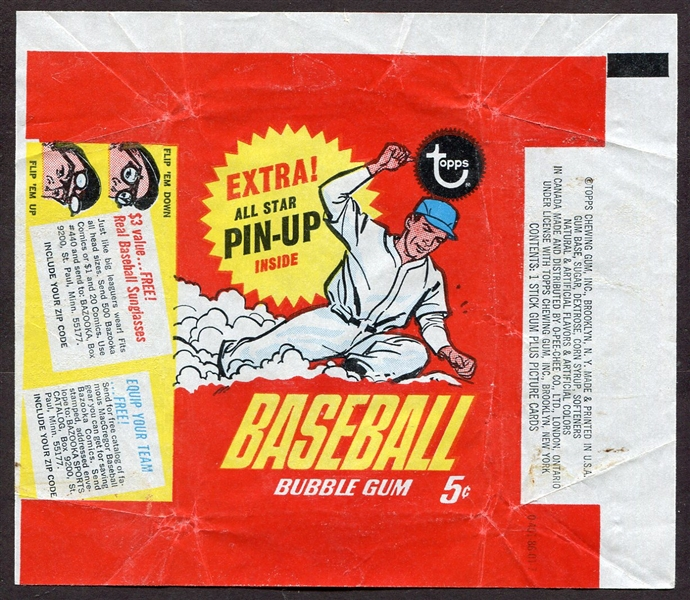 1967 Topps Baseball Wrapper All Star Pin-Up Series