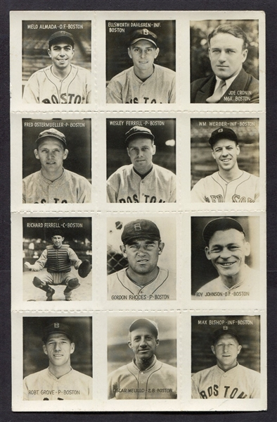 1935 George Burke Boston Red Sox Photo Stamps Sheet